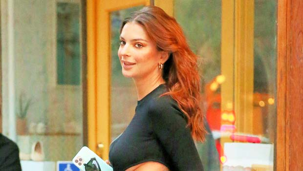 Emily Ratajkowski Shows Off Her Growing Baby Bump In Sexy Black Cut Out Dress – See Pics