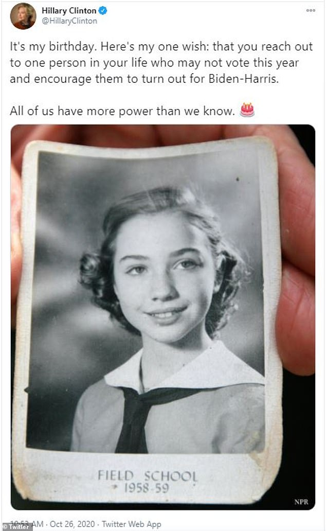 The former presidential hopeful posted a black and white photograph of herself from her school days