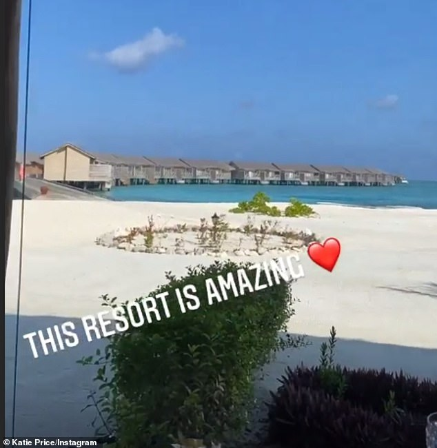 The former glamour model shared a video of her and Carl's stunning Maldives accommodation and beach earlier this week, writing: 'This resort is amazing'