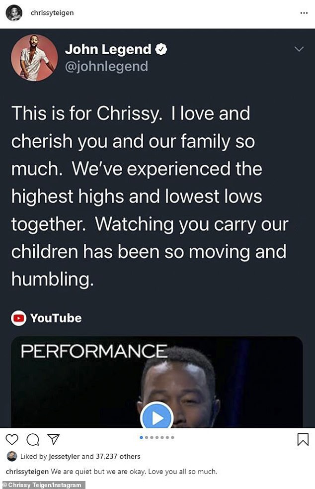 For you: He said, 'This is for Chrissy. I love and cherish you and our family so much'