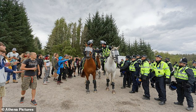 Ravers were at the illegal party for more than a day near thethe village of Banwen. Around 70 officers, assisted by Dyfed-Powys Police and the British Transport Police, were called out to the wood to execute a dispersal order