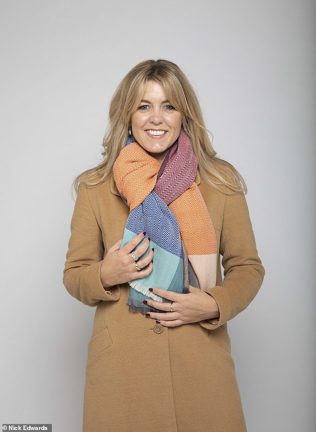 Hayley found the colourful lighter-weight blanket lent itself more to a knotted scarf style