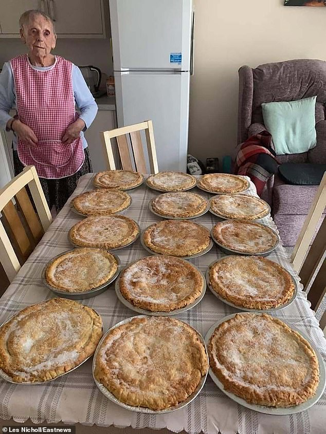 Flo, who pays for all her own ingredients for the pies, says that her most popular pie is her cherry pie - but that she also likes to bake apple pies, and even makes savoury steak pies