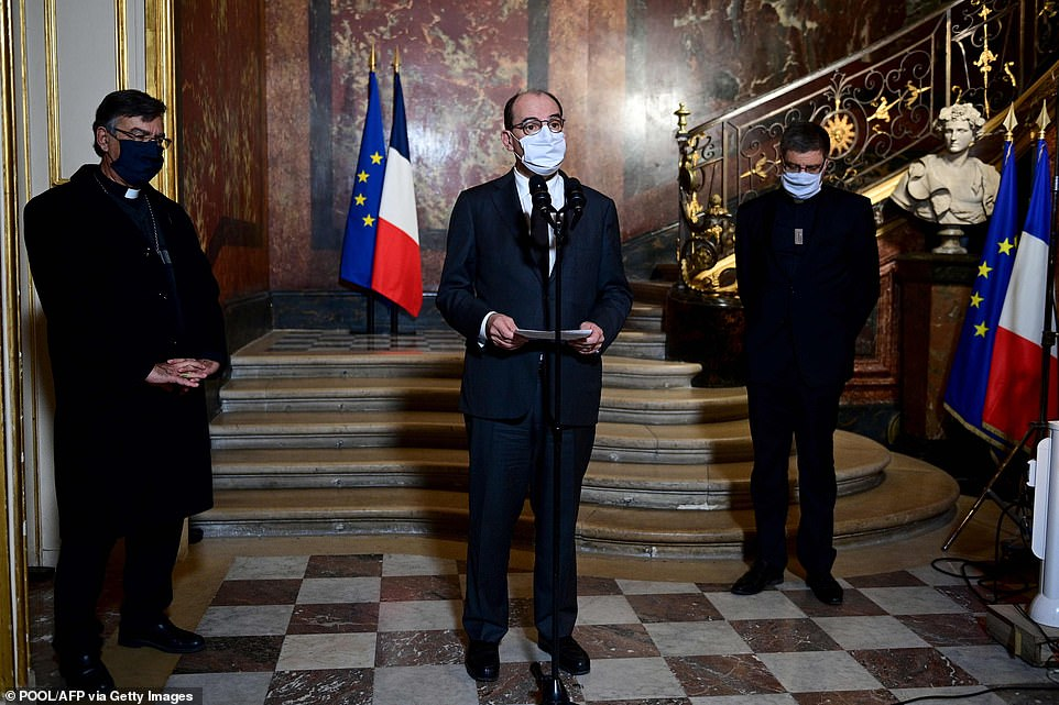 Archbishop of Paris Michel Aupetit, French Prime Minister Jean Castex and President of Bishops' Conference of France Eric de Moulins-Beaufort talk to the press after their meeting at the Matignon Hotel in Paris