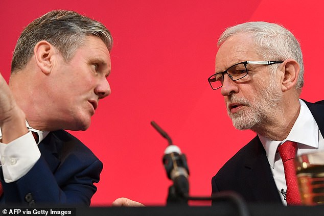 Labour leader Sir Keir Starmer (left) said there was 'no reason for a civil war' in the party as he confirmed the disciplinary process could result in the former leader Jeremy Corbyn (right) being expelled