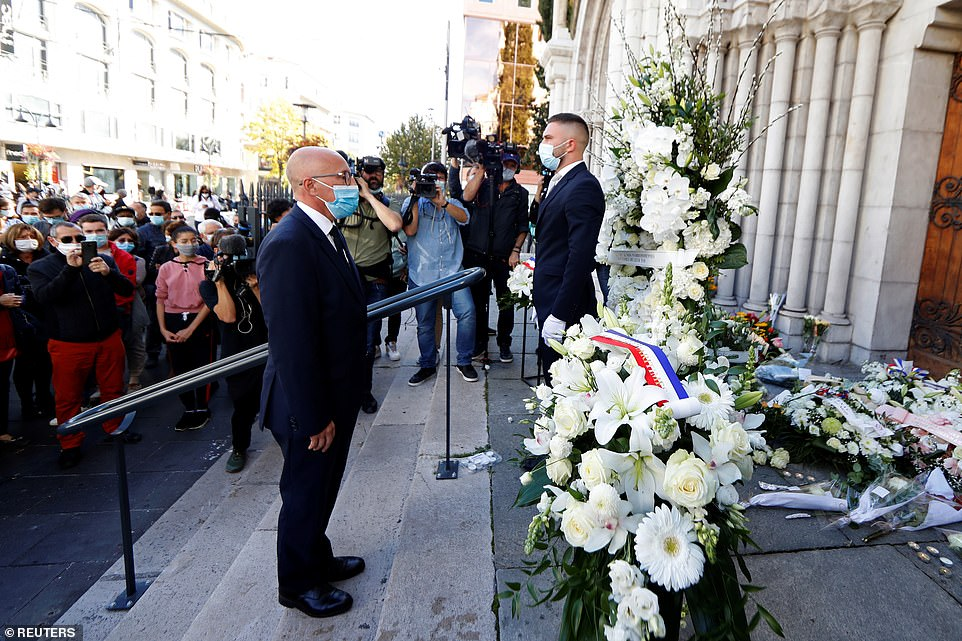 Eric Ciotti, President of the Departmental Council of the Alpes-Maritimes and member of Parilament, pays tribute to the victims of a deadly knife attack at the Notre Dame church