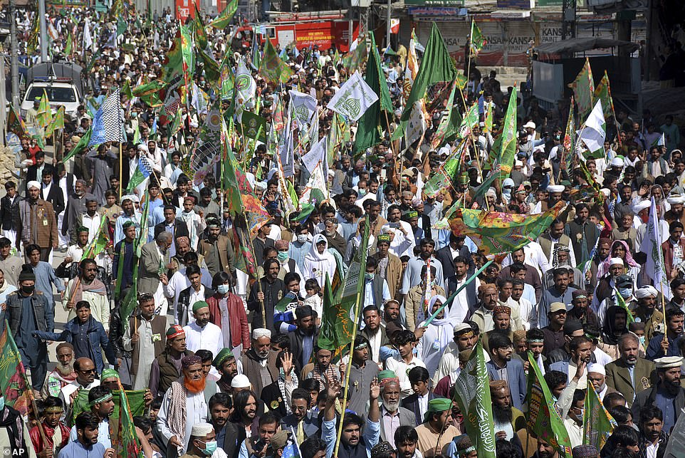 Pakistanis take part in a rally for the Mawlid al-Nabi holiday that celebrates the birthday of Islam's Prophet