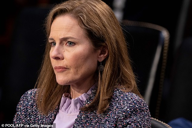 The newest justice: Amy Coney Barrett, 48, was confirmed on Monday evening 52-48 by the Senate and will be able to join the other justices Tuesday morning