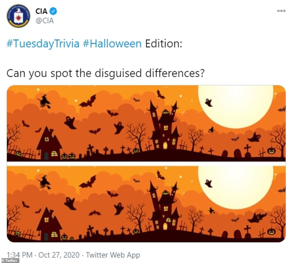 CIA releases a spooky scene and asks wannabe spies to spot the difference ahead of Halloween