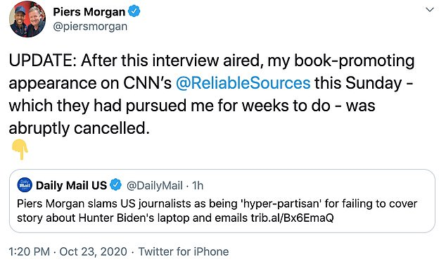 CNN cancels interview with Piers Morgan after he slammed them for not covering Hunter Biden story