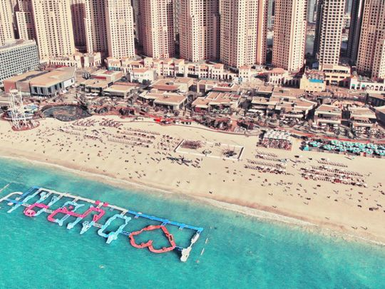Check out floating hurdles on this Dubai beach on Saturday