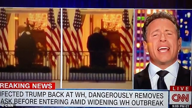 Chris Cuomo is ridiculed for calling footage of Trump removing his face mask 'propaganda'