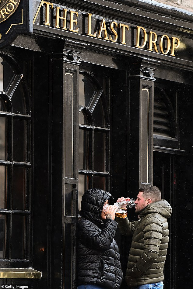 Furious Scottish landlords are today calling on Nicola Sturgeon to ban alcohol sales in supermarkets and off-licences as hospitality chiefs launch legal action against Covid-19 restrictions imposed on the trade by Holyrood (pictured, the Last Drop pub in Edinburgh)