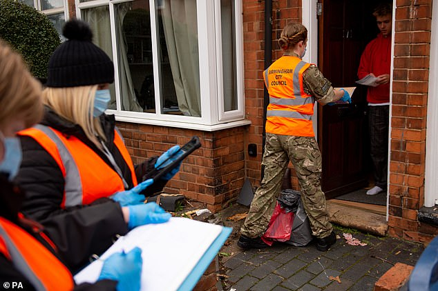 RAF personnel in Selly Oak, close to the University of Birmingham, assisting with Birmingham City Council's 'Drop and Collect' coronavirus test distribution