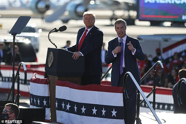 Donald Trump introduces Nigel Farage as the 'King of Europe' at election rally in Arizona