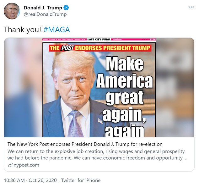 Donald Trump says 'thank you' to the New York Post after it becomes biggest newspaper to endorse him