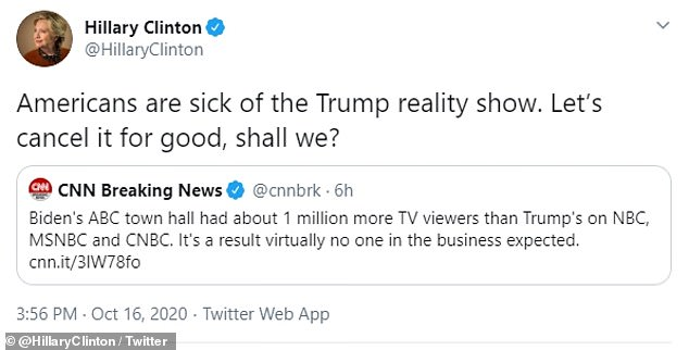 Hillary Clinton tweetsAmericans are sick of the Trump reality show urges voters to cancel for good