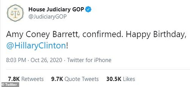 The House Judiciary GOP Twitter account wished Hillary Clinton 'Happy Birthday' shortly after Amy Coney Barrett was confirmed