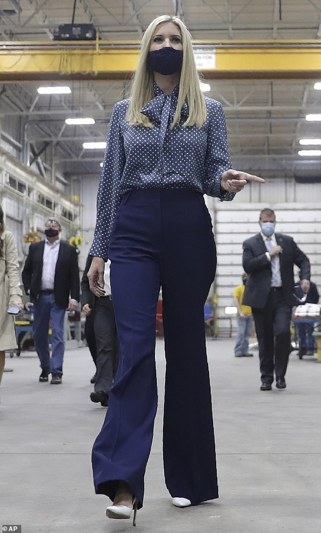 Ivanka Trump makes an elegant appearance in Wisconsin on day three of campaign trip