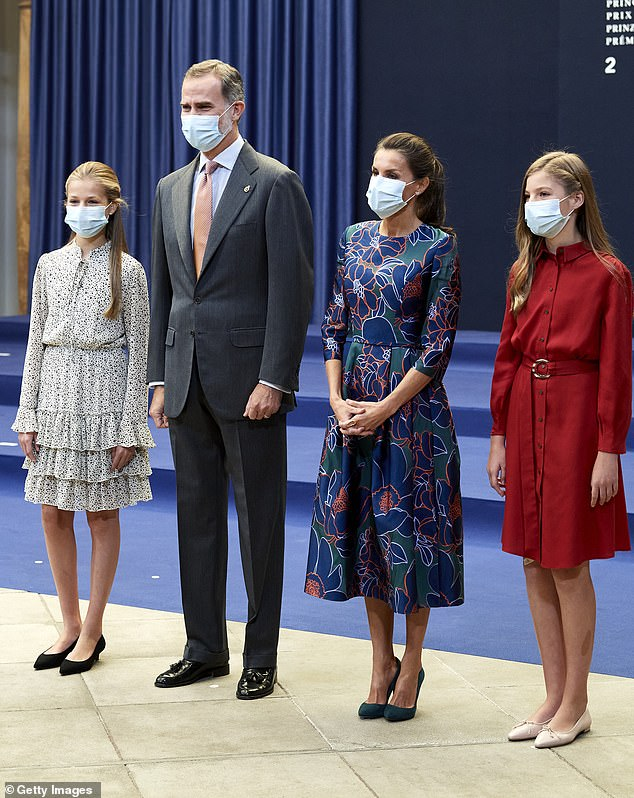 King Felipe VI and Queen Letizia of Spain are joined by their daughters Princesses Leonor and Sofia