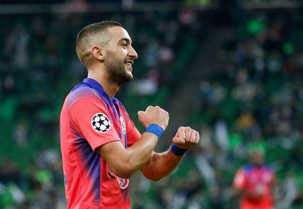 Hakim Ziyech celebrates scoring for Chelsea
