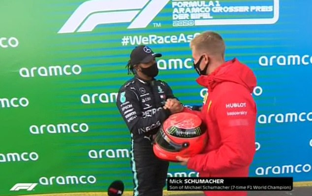 Lewis Hamilton stunned after Mick Schumacher presents him with one of his father Michael's helmets