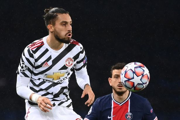 Alex Telles playing for Manchester United
