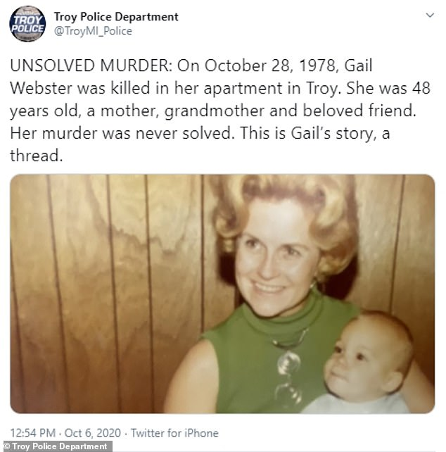 Michigan police are hoping to solve Gail Webster's 42-year-old cold case murder by tweeting about it