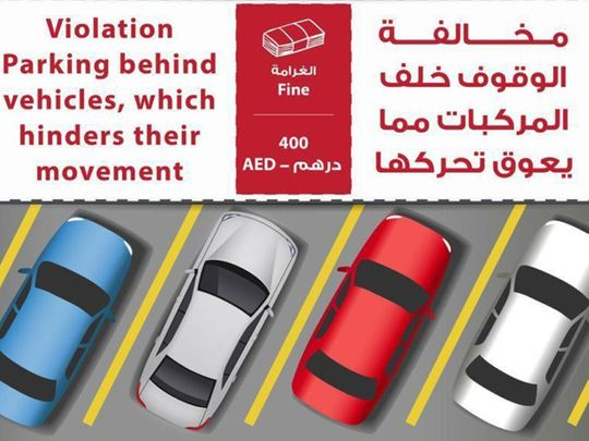 Parking behind vehicles will invite Dh400 fine in the UAE