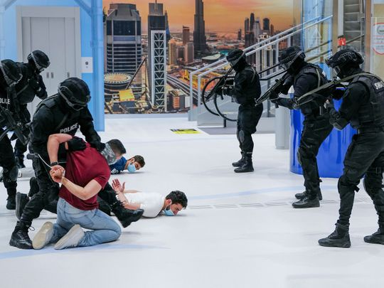 Pictures: Sheikh Hamdan watches live hostage drill on metro train