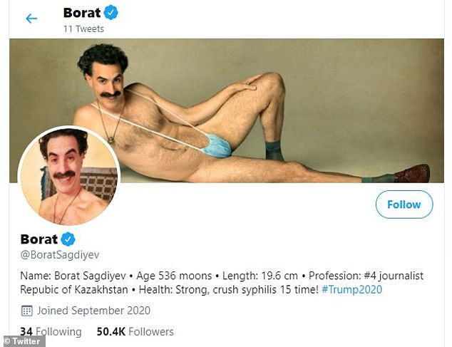 'Premiere Trump true leader!' Borat joins Twitter to troll president over his handling of COVID-19