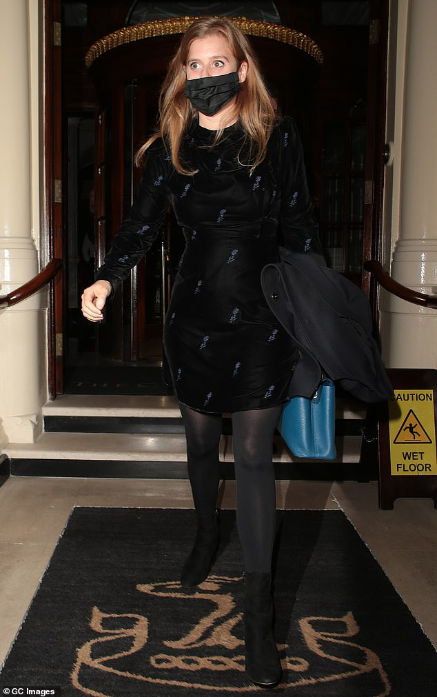 Princess Beatrice shows off her chic sense of style in black velvet dress