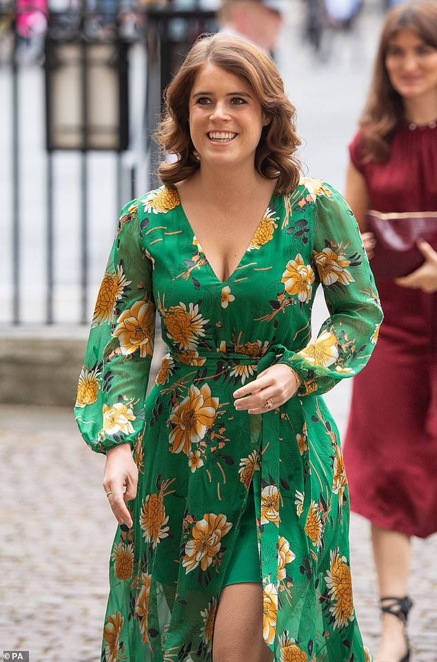 Princess Eugenie has been named as the new royal patron of the Scoliosis Association UK. Pictured, Eugenie at a royal engagement in March