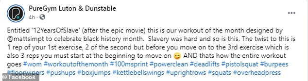 PureGym Luton: Gym is slammed for '12 Years of Slave' workoutto celebrate Black History Month