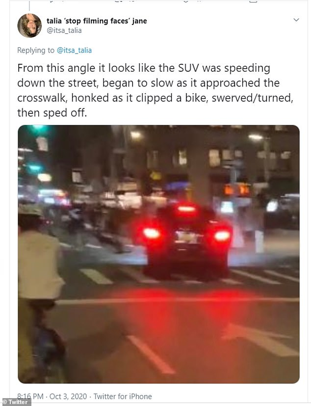 SUV is caught on camera speeding down Fifth Avenue in Manhattan slamming into a group of cyclists