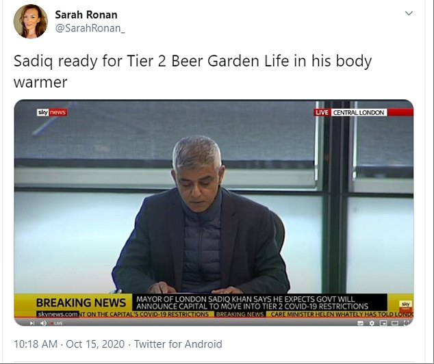Sadiq Kahn wore a puffer coat under a suit jacket with the unusual look prompting some hilarious reactions on Twitter as they joked he was preparing for the winter lockdown