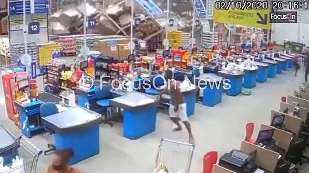 Shelves in Brazilian supermarket collapse in domino effect crushing one worker to death
