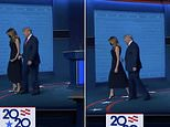 Twitter erupts as Melania appears to yank her hand away from Donald's at election debate