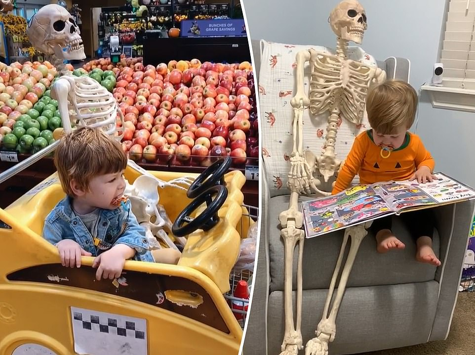 Two-year-old boy befriends a SKELETON named 'Benny' and takes the decoration everywhere he goes