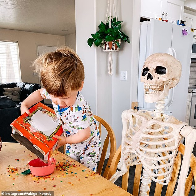 Two-year-old boy befriends a life-size SKELETON named 'Benny'