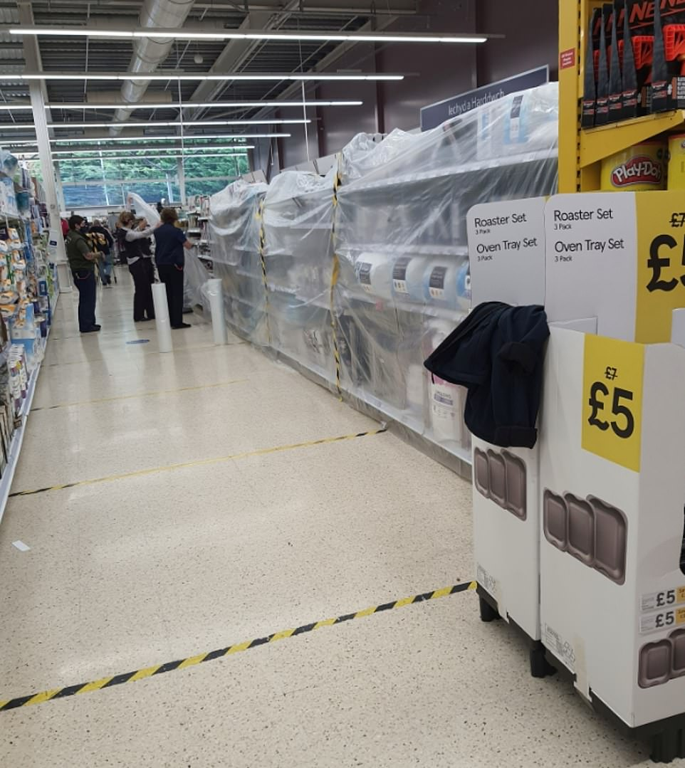 Tesco in Pontypool, Wales, after theFirst minister Mark Drakeford said no non-essential items could be sold in store
