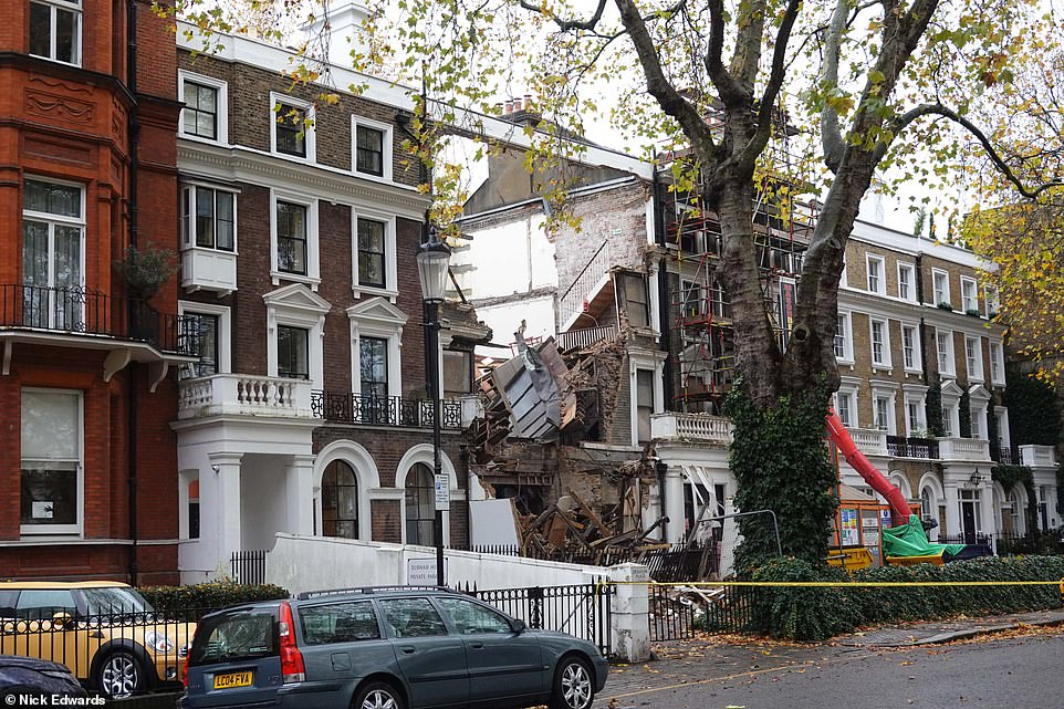 £6million Chelsea mansion collapses during building work to create mega-basement at the £6m property