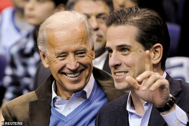 Hunter Biden is pictured with his father Joe in January 2010