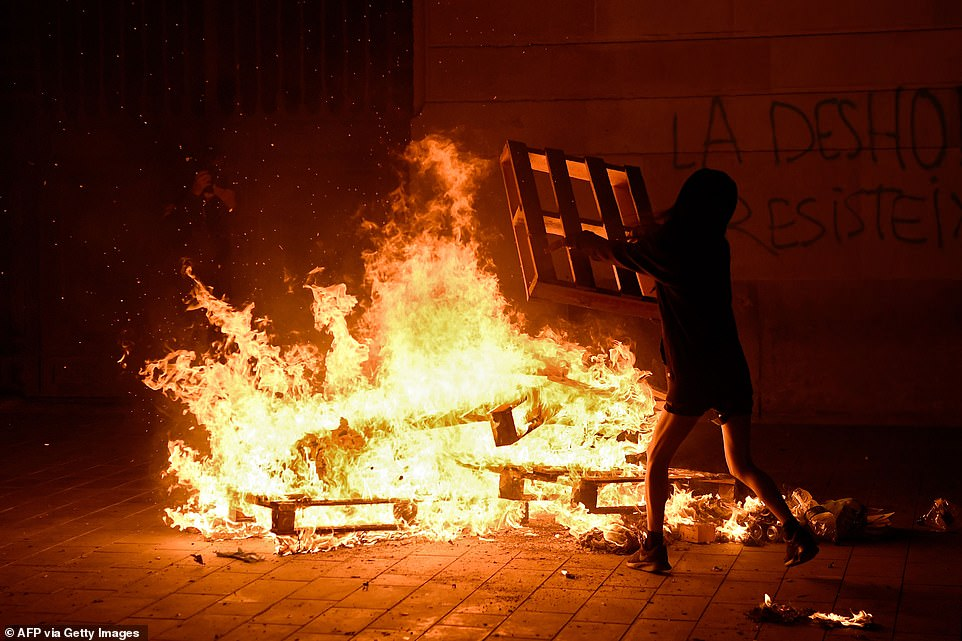 Demonstrators also set fire to wooden pallets during the clashes with the Spanish authorities on Saturday