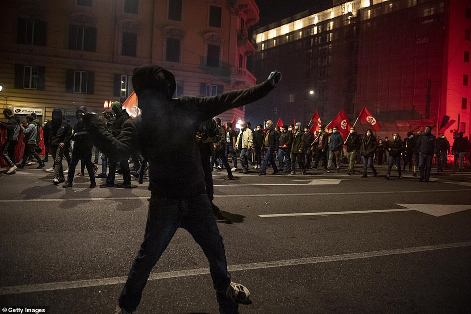 NewspaperLamorgese said the demonstrators included young people with criminal records, football hooligans and extreme-right activists who 'find an opportunity to exploit legitimate demonstrations