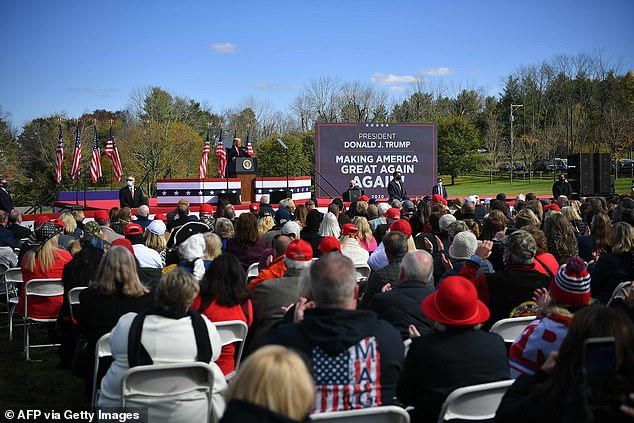 """President Donald Trump speaks at a """"Make America Great Again"""" rally in Newton, Pennsylvania, on Saturday"""