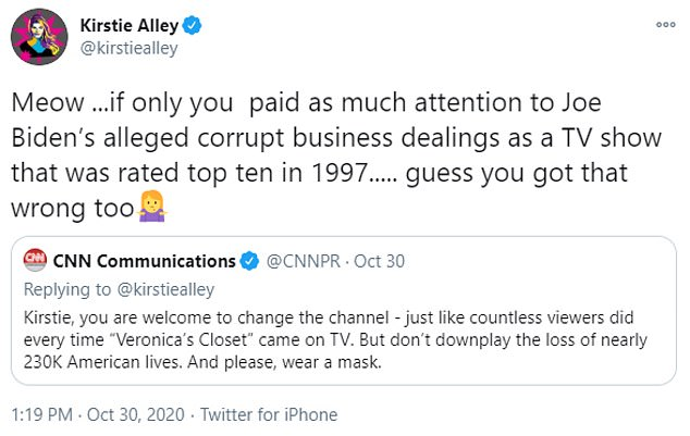 Alley, who has been vocal about her support for Donald Trump, hit back: 'Meow... if only you paid as much attention to Joe Biden's alleged corrupt business dealings as a TV show that was rated top ten in 1997... guess you got that wrong too'