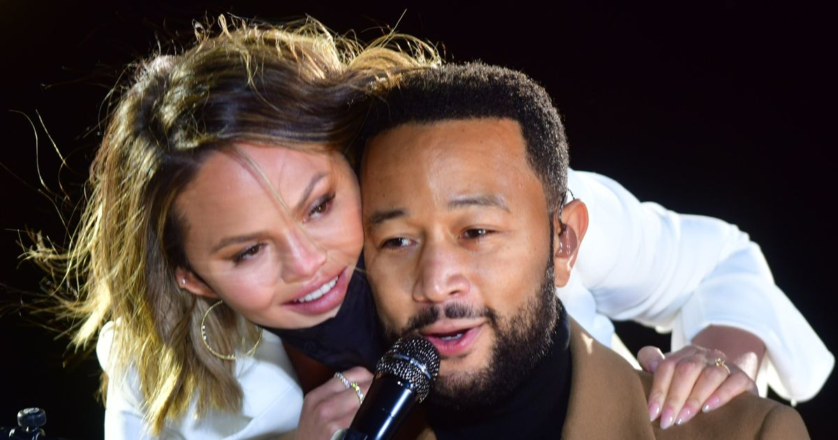 Chrissy Teigen joins John Legend on stage for emotionally charged performance