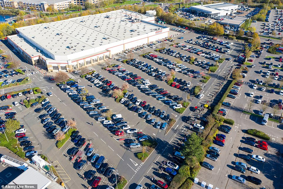Hundreds queue outside Costco at Lakeside a drone photograph showed yesterday as lines stretched 1,300 feet in length