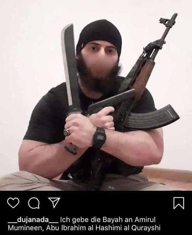 Twenty-year-old Kujtim Fejzulai posted a photo on his Instagram account before the attack that showed him with two of the weapons he apparently used, Interior Minister Karl Nehammer said. Pictured: An image circulated widely on social media which purports to be the killer but which has not been explicitly verified by Austrian officials